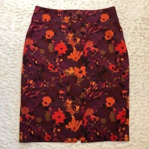 Beautiful Warm Colored Floral Pencil Skirt